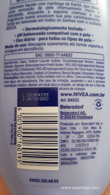 composição Nívea sabonete líquido