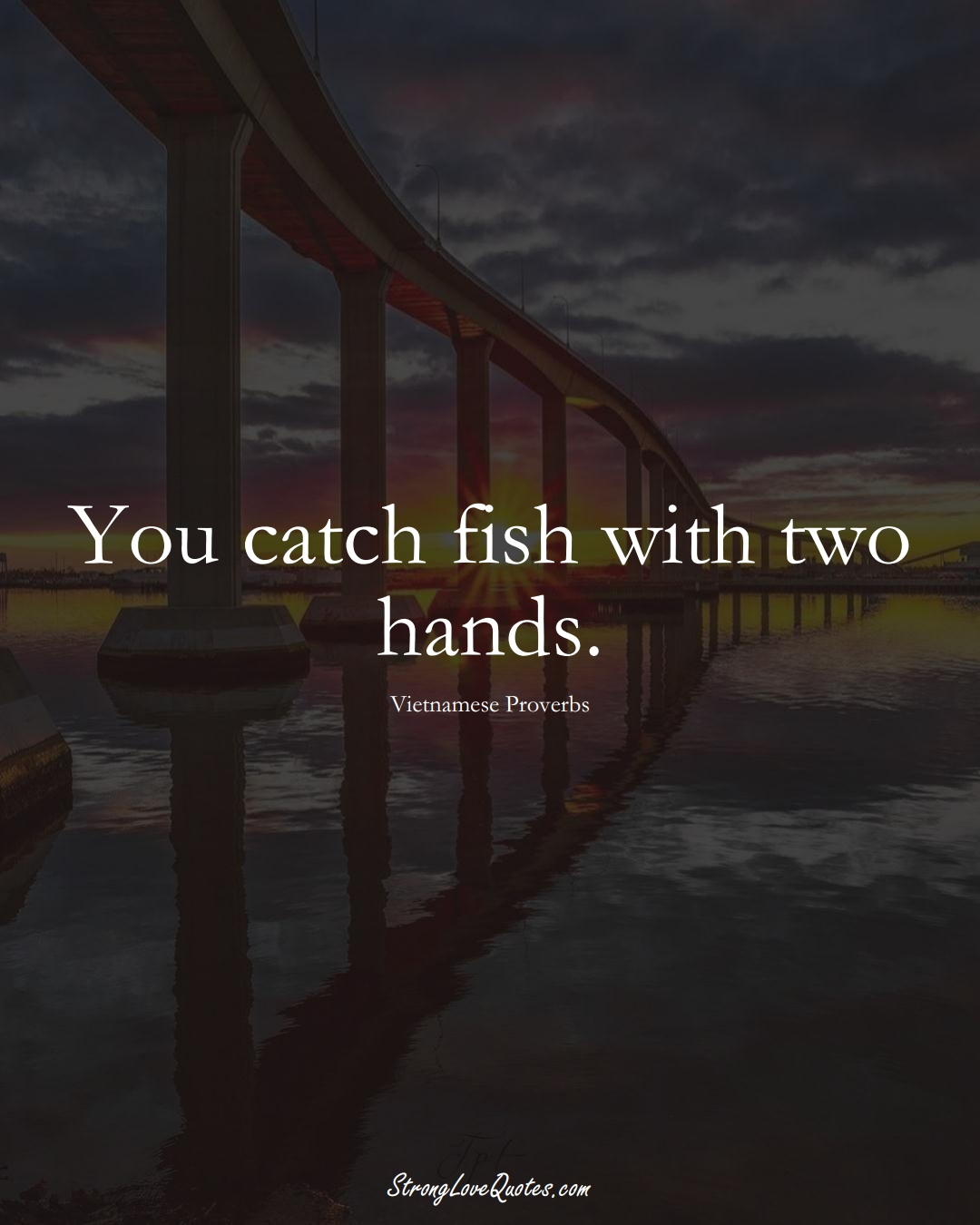 You catch fish with two hands. (Vietnamese Sayings);  #AsianSayings