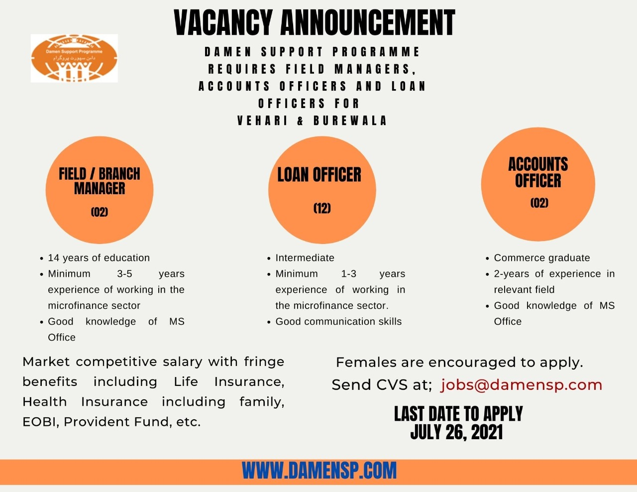DAMEN SUPPORT PROGRAMME (DSP) Announced Jobs 2021