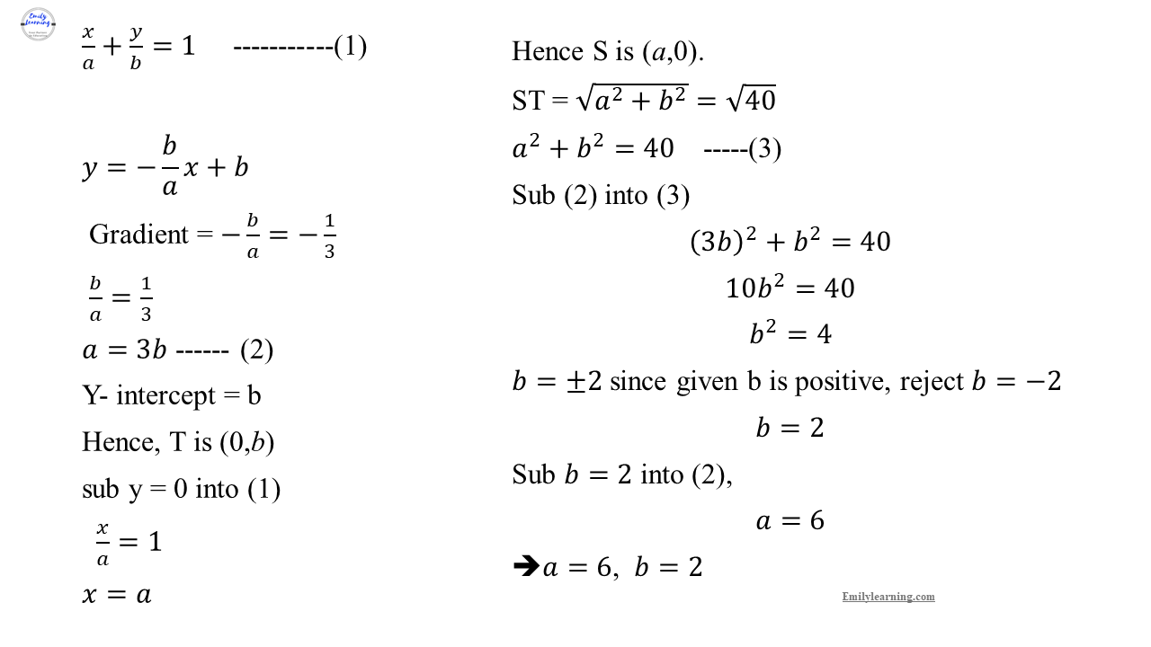 Add Math Specimen Paper 1 Question 1 on coordinate geometry and simultaneous equations