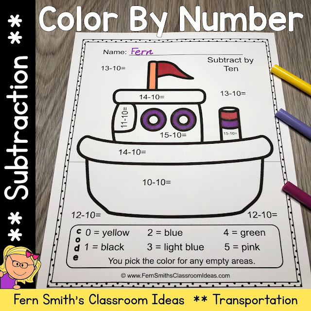 Color By Number Subtraction Transportation with Free Bonus Transportation Coloring Pages