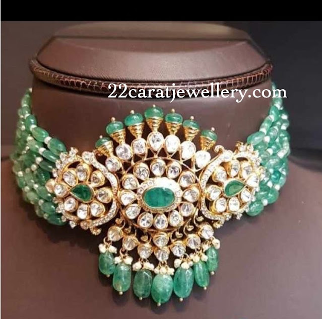Emerald Beads Choker with Polki Diamonds