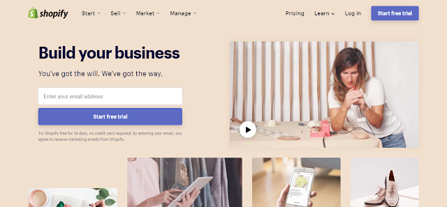 Screenshot Shopify Home Page