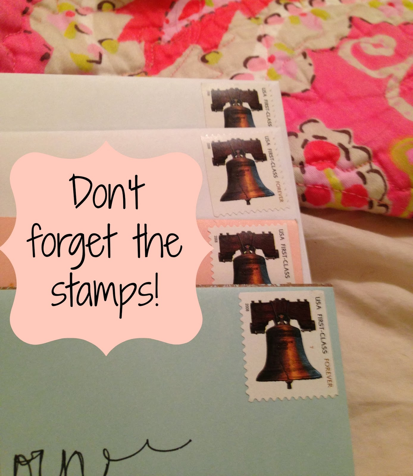 Don't forget the stamps when snail mailing