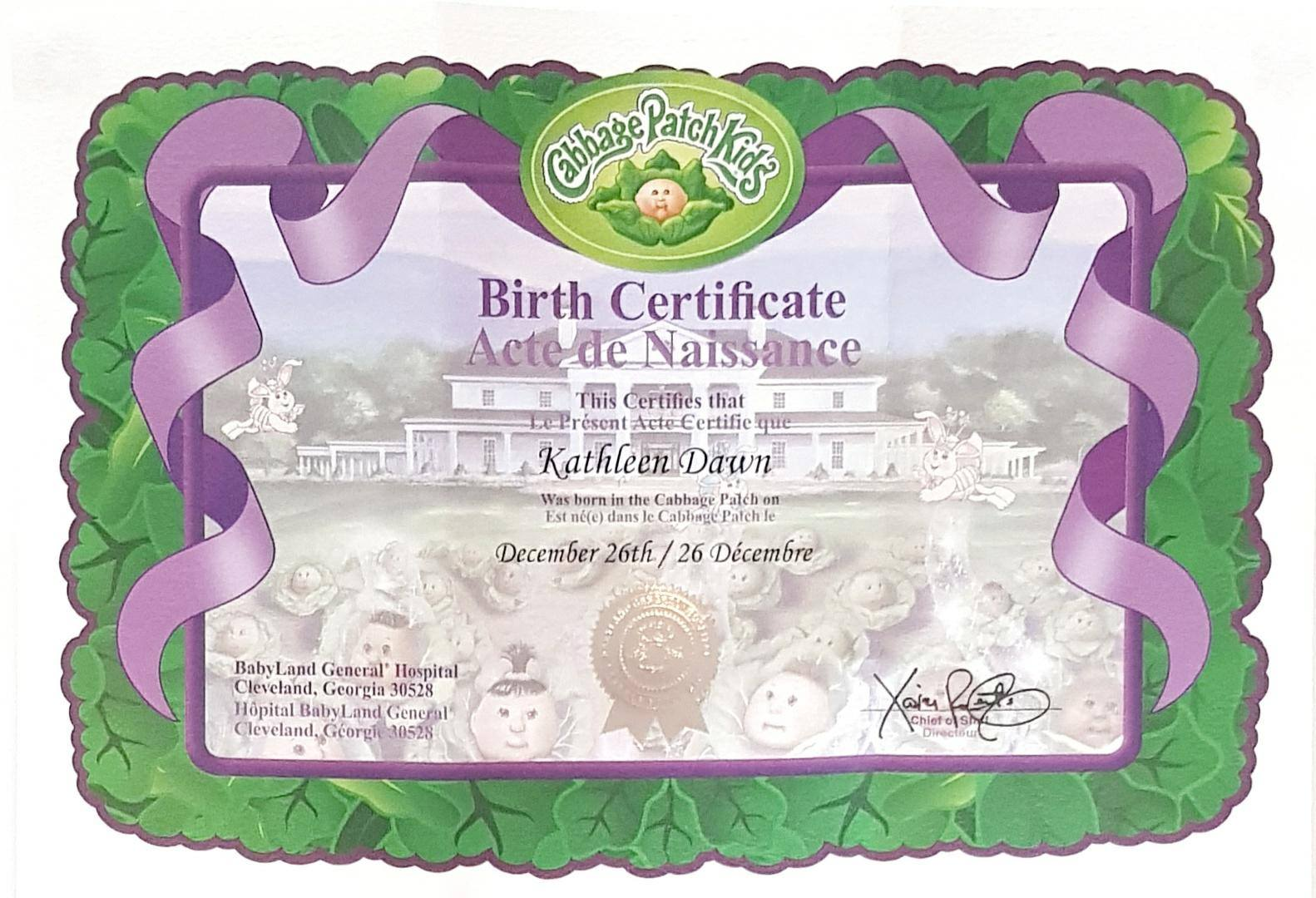 cabbage patch kid birth certificate template - finding myself young