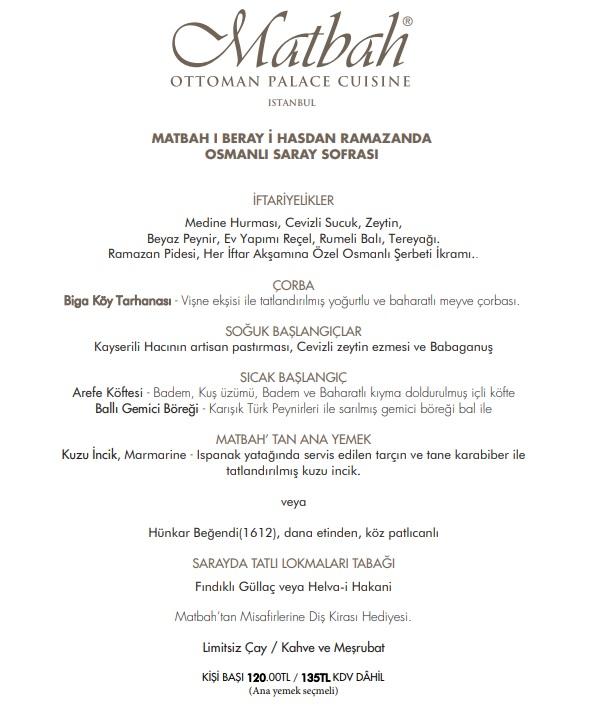 matbah restaurant Ottoman Hotel Imperial  istanbul iftar