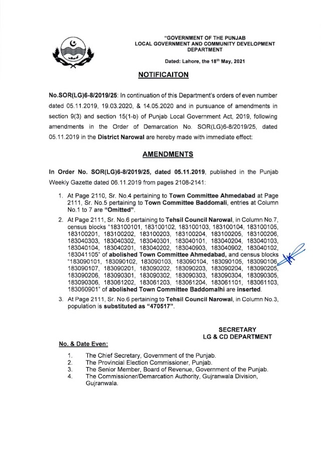 DEMARCATION OF TEHSIL COUNCILS AND ABOLISHED TOWN COMMITTEES OF DISTRICT NAROWAL