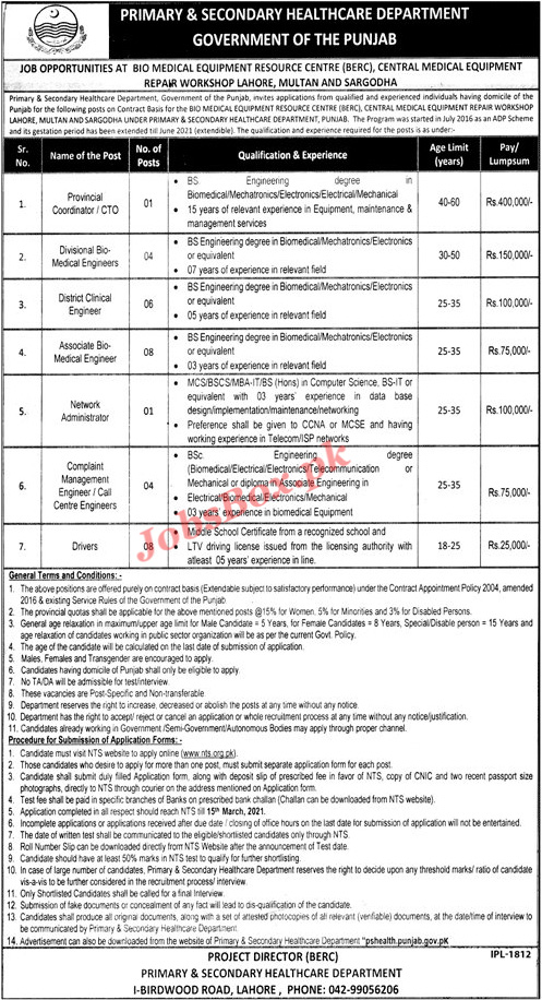 Latest Primary & Secondary Healthcare Department Punjab Jobs 2021
