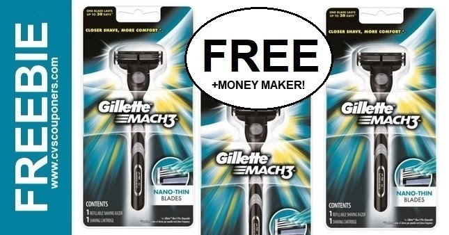 FREE Gillette Mach3 Men's Razor CVS Deals 4-11-4-17
