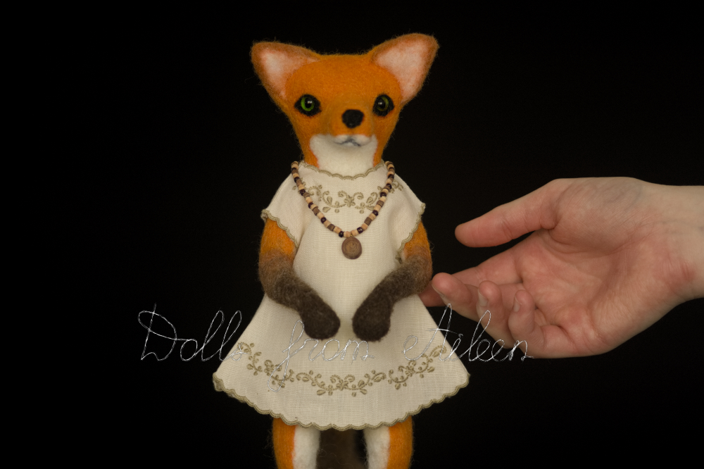 ooak needle felted fox sculpture with human hand