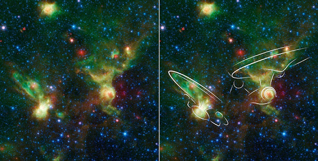 "These nebulae seen by NASA's Spitzer Space Telescope, at left, may resemble two versions of the starship Enterprise from ""Star Trek,"" overlaid at right. Credits: NASA/JPL-Caltech"