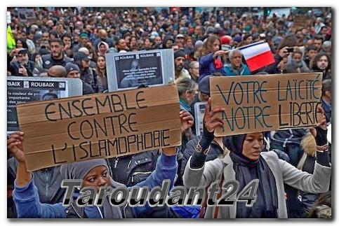 تارودانت بريس :  تظاهرة باريسية ضد الإسلاموفوبيا تقسم الطبقة السياسية الفرنسية  : taroudantpress