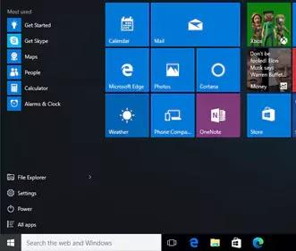 قائمة ابدأ  Windows 10