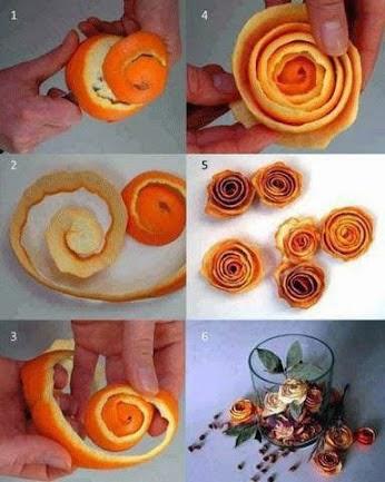 membuat Bunga kulit buah jeruk
