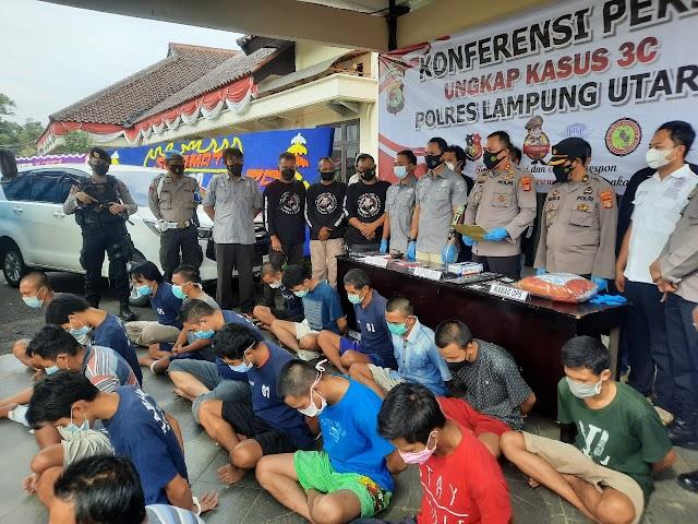Jelang Hari Bhayangkara Ke 75, Polres Lampung Utara Amankan 22 Pelaku Kejahatan