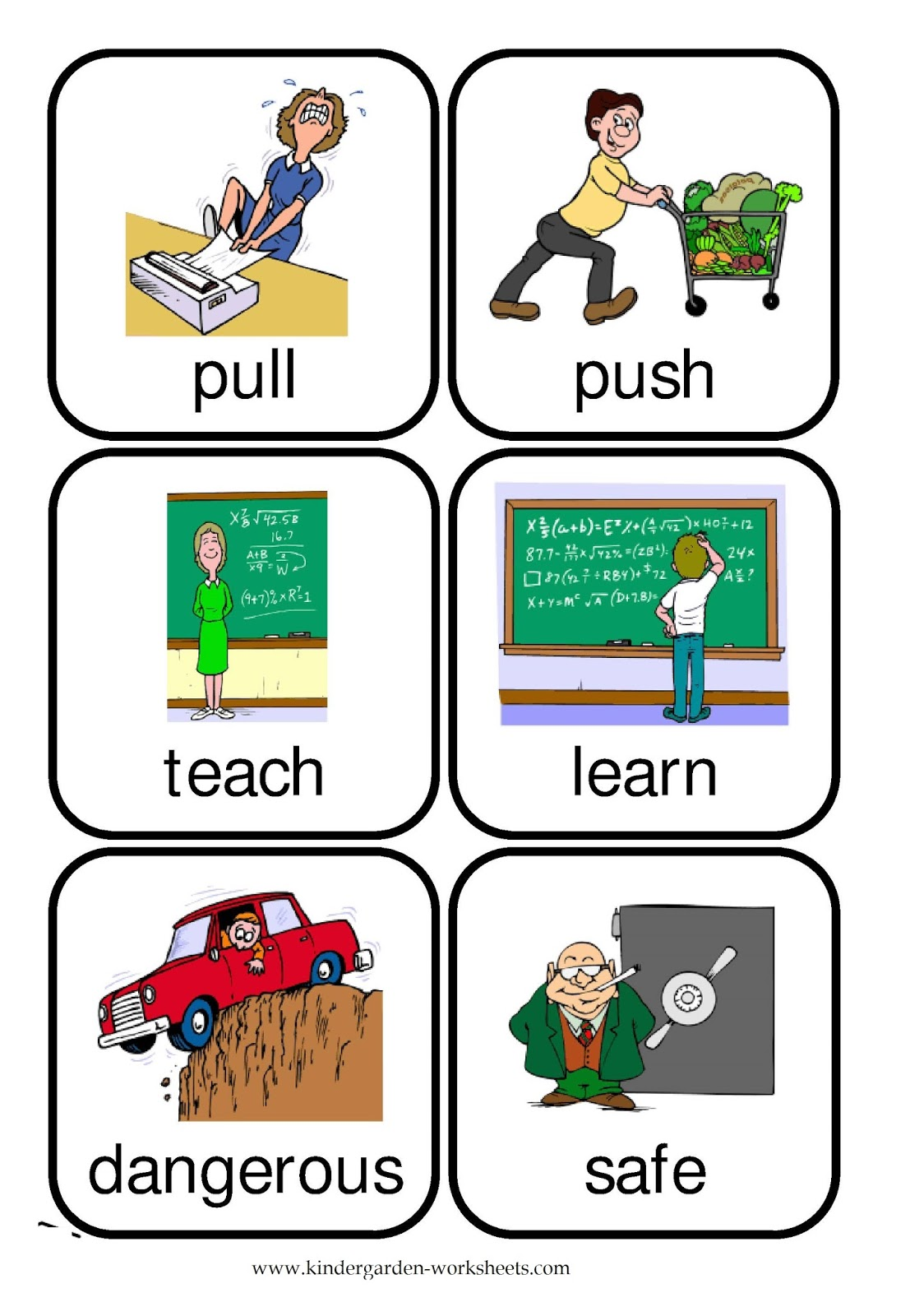 Kindergarten Worksheets Flashcards Opposite Words