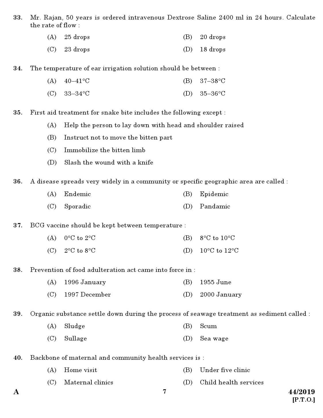 Kerala PSC Nurse Grade II  Kerala PSC Exam Previous Question paper 44/2019
