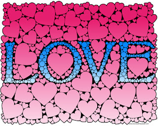 Love- hearts and dots coloring page