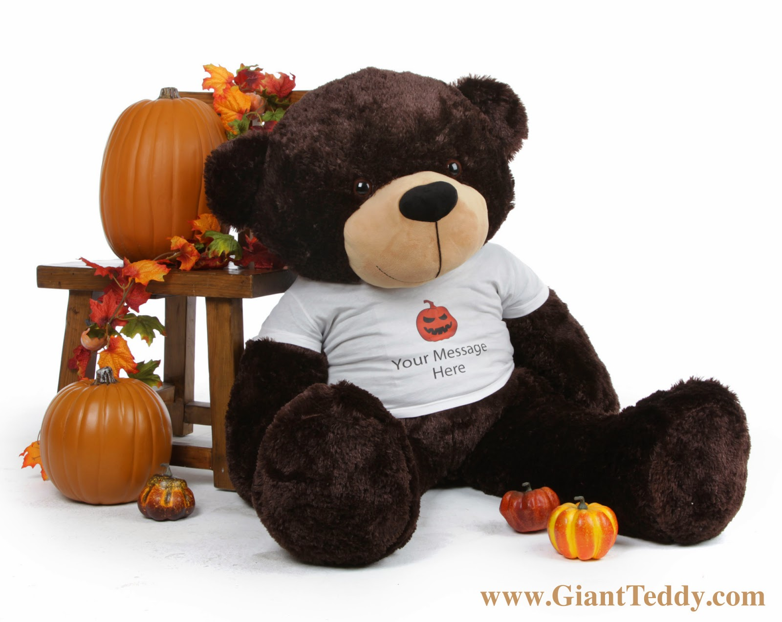 Big Halloween Bear 48 inch Brownie Cuddles in Personalized Shirt - Great Gift Idea!