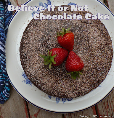 Believe It or Not Chocolate Cake is a low sugar, no milk, eggs or butter but incredibly good cake. Serve with fresh berries, for a healthier dessert option. | Recipe developed by www.BakingInATornado.com | #recipe #cake