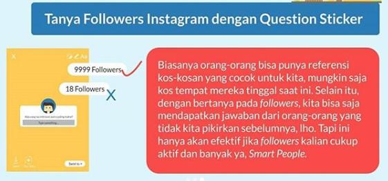 Question sticker instagram untuk tanya informasi kos murah