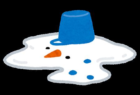 溶けた雪だるまのイラスト
