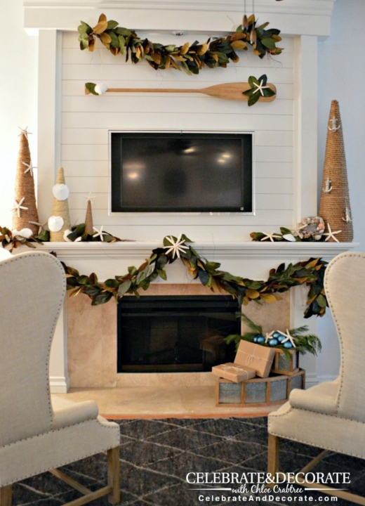 Nautical Christmas Mantel Oar Garland Idea