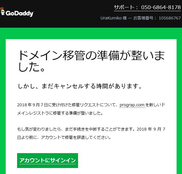 「GoDaddy」によるドメイン移管準備のメール通知
