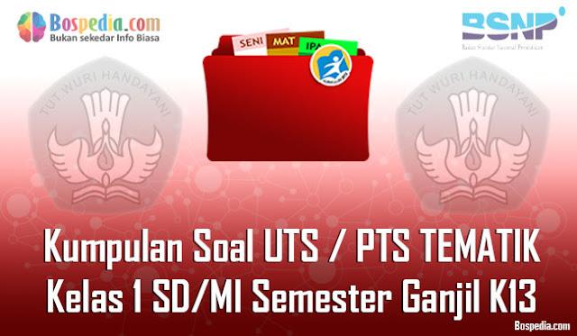 Kumpulan Soal UTS / PTS TEMATIK Kelas 1 SD/MI Semester Ganjil K13 Terbaru