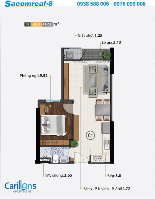 Mặt bằng thiết kế căn hộ C với 1 phòng ngủ dự án Carillon 5.