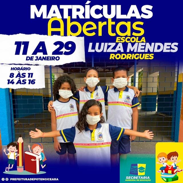 Abertas as matrículas da rede municipal de ensino de Potengi de 11 a 29 de janeiro