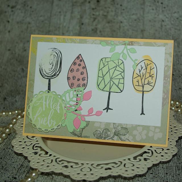 [DIY] Alles Liebe | Pastellfarbene Grußkarte mit grafischen Bäumen - Teil 2