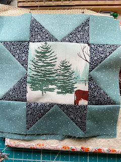 Variable Star Quilt Block with Tree print in the center