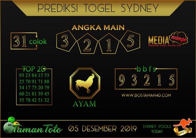 Prediksi Togel SYDNEY TAMAN TOTO 05 DESEMBER 2019
