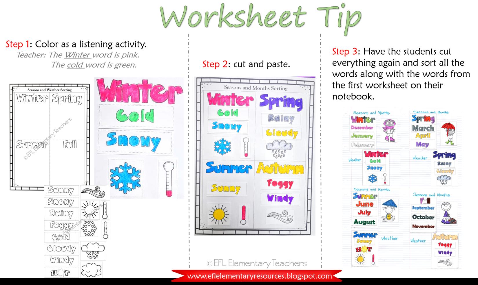Efl Elementary Teachers Worksheet Tips For The Seasons Unit