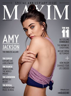 Amy Jackson in Sexy Bra Hot Side Boobs WOW January Maxim 2017