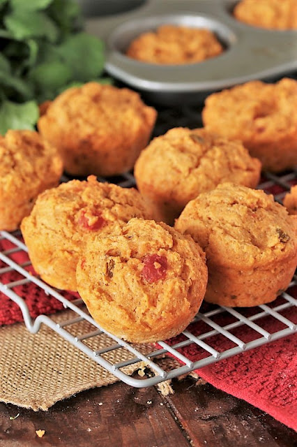 Spicy Salsa Muffins on Cooling Rock Image