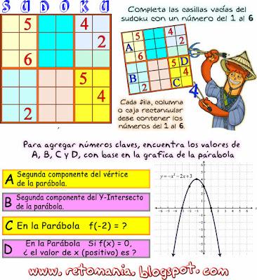 Sudoku, Sudoku 6x6, Función Cuadrática, Funciones, Parábola, Función de Segundo Grado