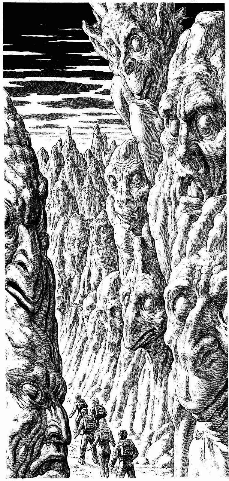 a Virgil Finley illustratio of hikers in a scary landscape of rocks and faces