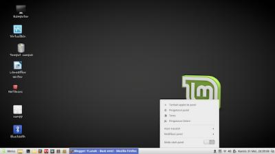 mengganti tema di linux mint jendela tema Klik kanan pada bagian bawah/toolbar dan klik yang bertuliskan tema
