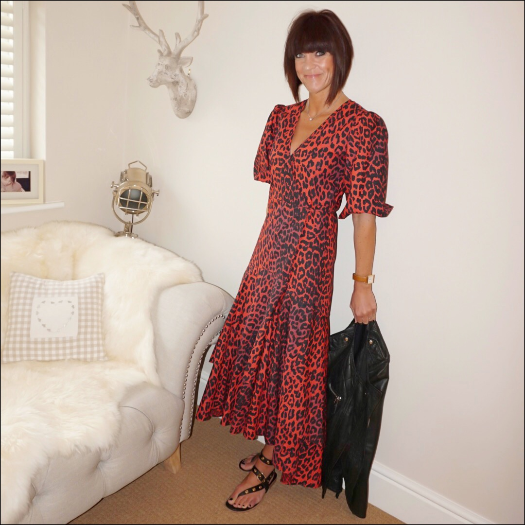 my midlife fashion, ganni bijou leopard print cotton poplin wrap dress, iro paris eyelet leather sandals, isabel marant etoile leather biker jacket