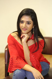 Shriya Sharma in Red Top and Denim Jeans Spicy Pics