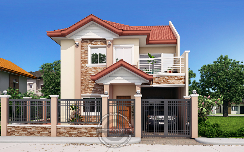 50 low cost two story house designs for small land area for Design casa low cost