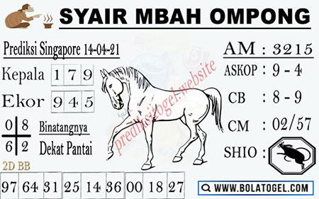 Syair Mbah Ompong SGP Rabu 14-Apr-2021