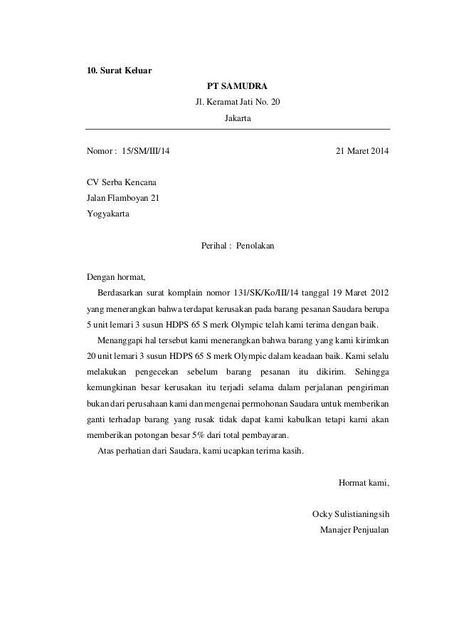 Contoh Format Surat Jawaban Balasan Komplain Pengaduan