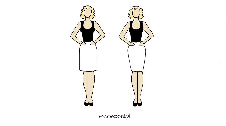 szerokie ramiona zwęzi spódnica poszerzana w biodrach zarówno szeroka jak i dopasowana