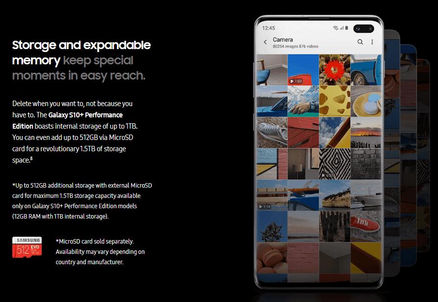 Storage Samsung Galaxy S10