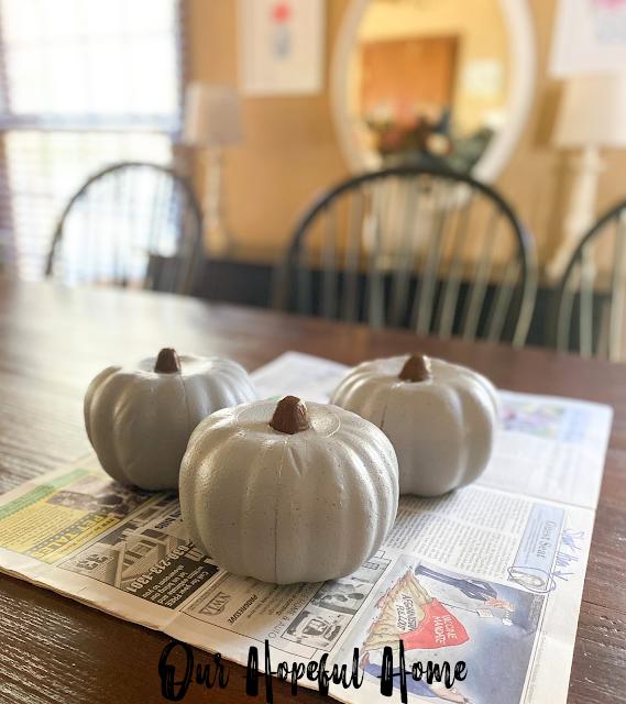 gray painted foam pumpkins
