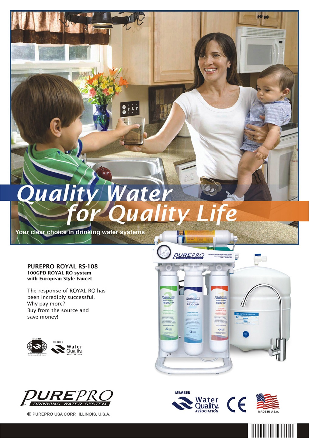 PurePro Royal ® RS-108 Reverse Osmosis / Nanofiltration Water Purification System