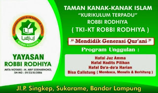 Peluang Kerja Lampung Terbaru Dari TK Islam ROBBI RODHIYA Bandar Lampung Mei 2017